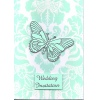 Aqua Damask Butterfly Wedding Invitation